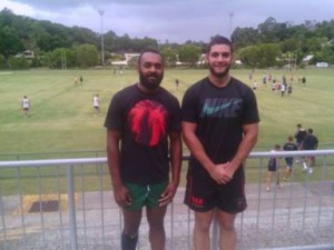Kunro Kalo left and Joe Meninga at Tweed training