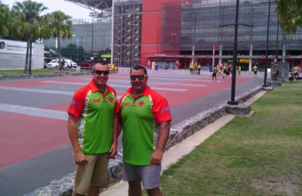 Mick Ashford from South Queensland Soils left, Herby Henderson right outside Suncorp Stadium